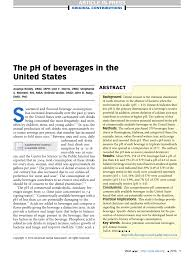 Ph Of Beverages Chart Pdf The Ph Of Beverages In The United States