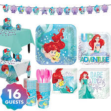 Little Mermaid Tableware Party Kit for 16 Guests Supplies - Birthday | City