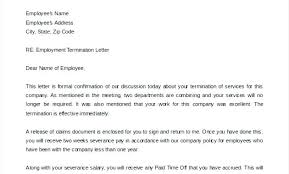 Company Termination Letter Cool Letter Of Termination Template Final Paycheck To Employee Sample