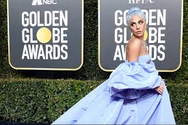 lady a d her hair icy blue to match her gown for the 2019 golden globes