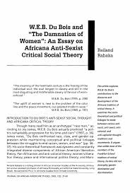 w e b du bois and ldquo the damnation of women rdquo an essay on africana inside