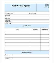Blank Agenda Form Dstack Co