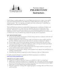 Sample Phlebotomy Resume Phlebotomy Cover Letter Phlebotomy Instructor Resume Sample 20