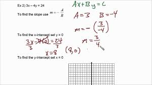 finding slope and x and y intercepts from standard form linear equations