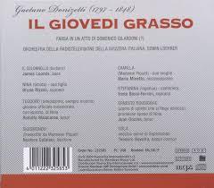 Giovedi Grasso by Loomis / Ruzzoli / Malacarne & Gaetano Donizetti  (1797-1848) - CeDe.com