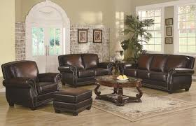brown leather sofa sets. Plain Leather LeatherTrimmedSofa   Traditional Rich Brown Leather Sofa Set With  Nailhead Trim Sets To N
