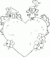 Girl At Home On Heart Coloring Pages Printable