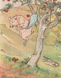 original ilration of pig and apples from three little pigs bedtime story