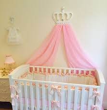 princess girls white baby pink cot bed crown canopy voile nursery