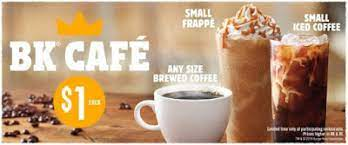 Get directions to the closest café and order now! Burger King Offers Bk Cafe Drinks For 1 Each Brand Eating