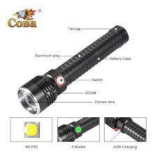 COBA Lớn Kích Thước Đèn Pin Led P50 Chống Nước Tự Vệ Lồng Đèn USB  Rechargebale 3000LM Tích Hợp Pin 3 Chế Độ Đèn Flash|Đèn Pin LED