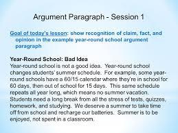 Ela 6 Common Core Unit Argument Paragraph Unit Description