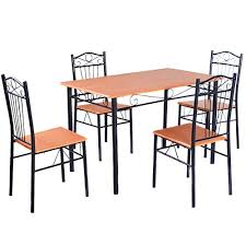 tangkula steel frame dining set table and chairs kitchen modern furniture bistro wood learn more
