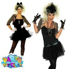 Captivating Madonna Costume Womens 80s Wild Child Fancy Dress Ladies Pop Rock Star  Outfit