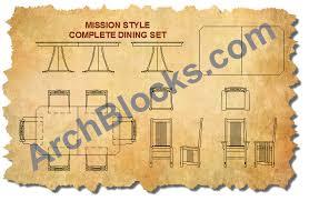 craftsman style dining room autocad blocks