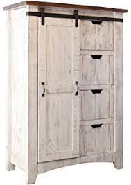 greenview barndoor dresser with 4 shelves and 4 drawers white
