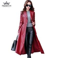 2017 spring autumn women leather jacket fashion high end pu leather coats x long