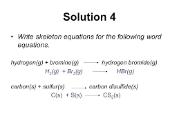 writing skeleton equations and balancing wor free