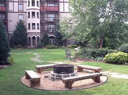 the inn at place fire pit courtyard area