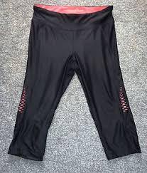 athletic works yoga pants black with neon pink sports yoga leggings athletic works size medium