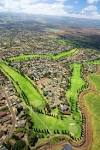USA, Hawaii, Aerial view of Pukalani Country Club Golf Course ...