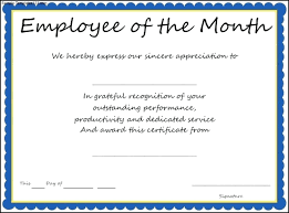 Employee Of The Month Certificate Templates Employee Month Certificate Template Under Fontanacountryinn Com