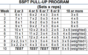 Pull Up Workout Chart The Sspt Pull Up Program Usa Powerlifting Maryland