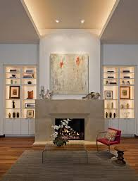 contemporary display shelf living room contemporary with cove lighting wall art built in shelves