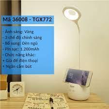 Đèn bàn tích điện có giá để điện thoại sạc USB TGX7010/TGX772/KM36011 - Đèn  bàn