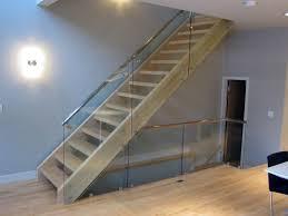 Image of: Light Oak Glass Stair Railing