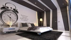 Bedroom:Stunning Black And White Bedroom Design Wih Large Clock Wallpaper  And Corner White Standing