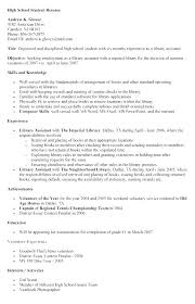 High Student Resume Job High Student Resume Examples Resume Letter