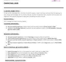 Resume For Teaching Job