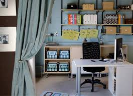 small office decorating ideas. Interior Design, Adorable Blue Wall With A Soft Touch And White Desk Black Armchair Small Office Decorating Ideas S