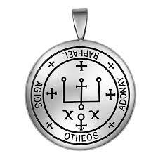 guardian archangel raphael sigil amulet keep me safe and positive inscription prayer medallion pendant