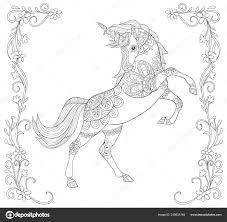 Unicorno Carino Con Ornamenti Doodle Floreale Cornice Immagine