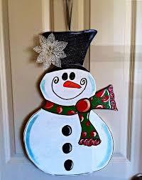 wooden snowman door hanger by theerbean1 on 28 00