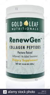 winneconne wi 21 april 2018 a bottle of gold leaf nutritionals renewgen collagen peptides supplement on an isolated background