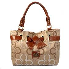 Coach Bowknot In Monogram Medium Khaki Totes Outlet Factory Price