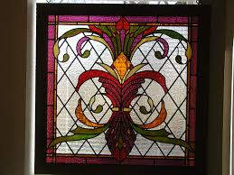 meval style stained glass window art nouveau inspired stained glass panel