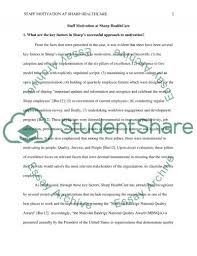 staff motivation at sharp healthcare case study staff motivation at sharp healthcare essay example