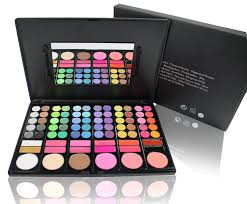 all in 1 pact makeup palette in slim case with built in mirror and 2 brushes