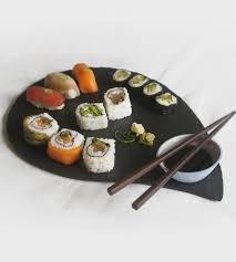 salvaged slate  porcelain sushi serving platter  home decor