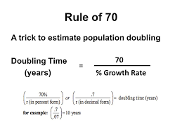 8 rule of 70 a trick to estimate population doubling doubling time years 70 growth rate