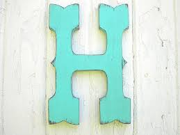 wooden rustic letter 12 h western style