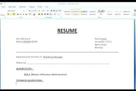 resumes on word 2007 resume format microsoft office word 2007 curriculum vitae ms file in