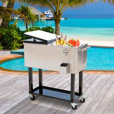outsunny 80qt patio portable rolling cooler cart ice beer chest stainless steel