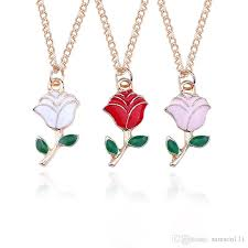 whole fashion white pink rose enamel gold rose flower pendant necklace gold color metal necklaces for women collar flores heart pendant statement