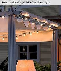 diy retractable pergola canopy most inspiring design gray stained finish wooden posts crossbeams rafters metal rails cream fabric feature lighting