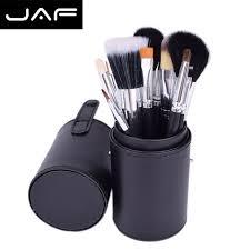 dropshipping jaf studio 12pcs brushes makeup kit pincel maquiagem with brush holder leather cup makeup brushes j1204mcb b